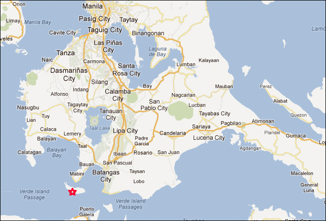 Maricaban Island Tingloy Batangas Philippines Map