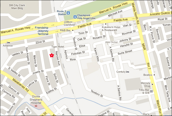 Affinity Hotel Angeles City Map