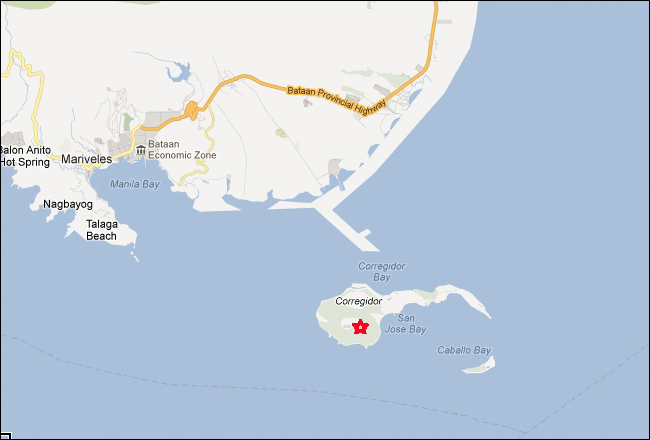 Corredigor Island Philippines Map