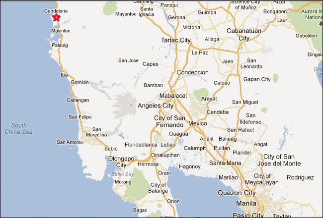 Dawal Beach Resort Candelaria Zambales map