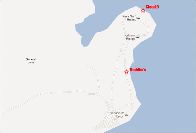 Buddhas Surf Resort Siargao Philippines Cloud 9 Map